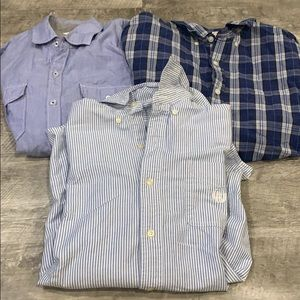 3 men's medium button up dress work shirts